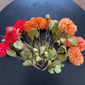 Lot of 11 silk dahlia floral stems from Michaels